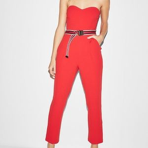 Strapless Sweetheart Neckline Jumpsuit RED